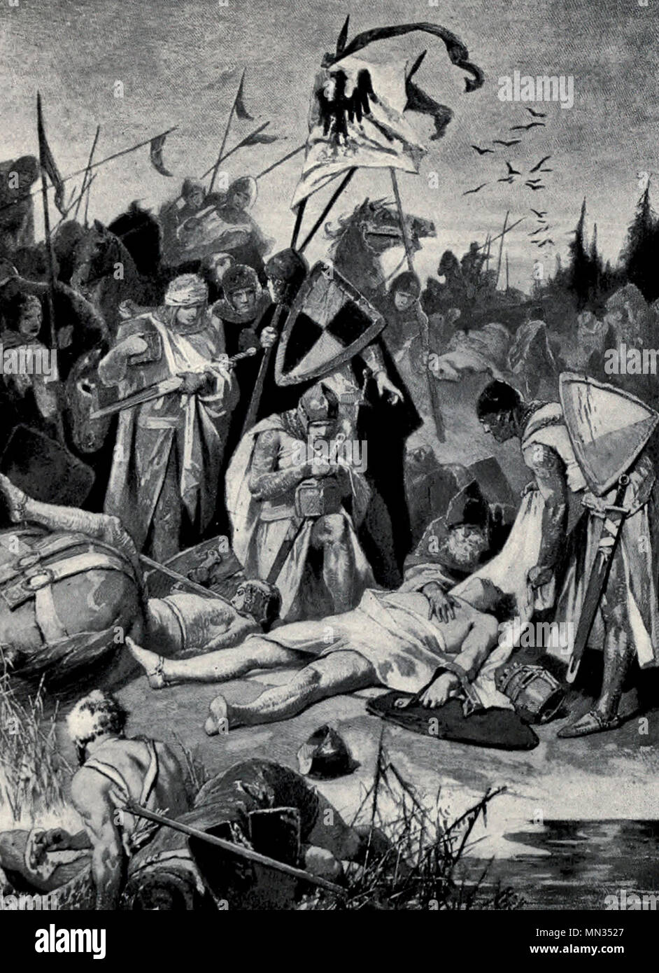 Rudolf Von Hapsburg views the dead body of Otokar, slain on the Marchegg,  1278