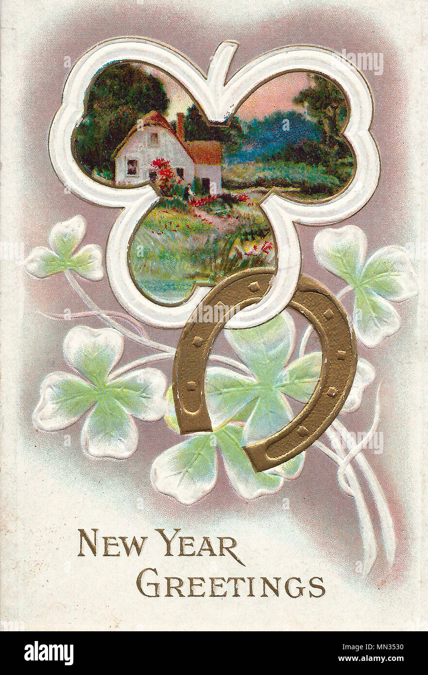 New Years Greetings A Vintage New Years Post Card Stock Photo