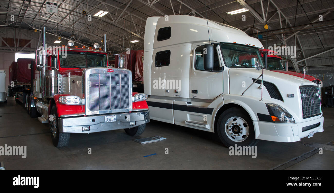 Cargo Transport Semi Trucks Used To Carry Equipment Utilized By The