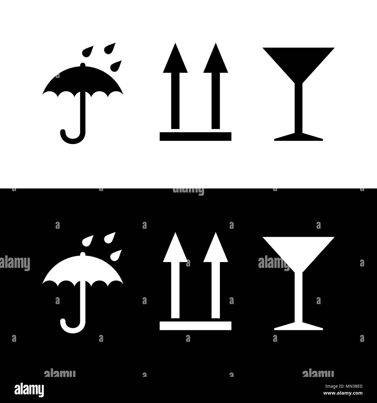 Pictogram umbrella, martini glass, arrows up in white and black colors - Stock Vector