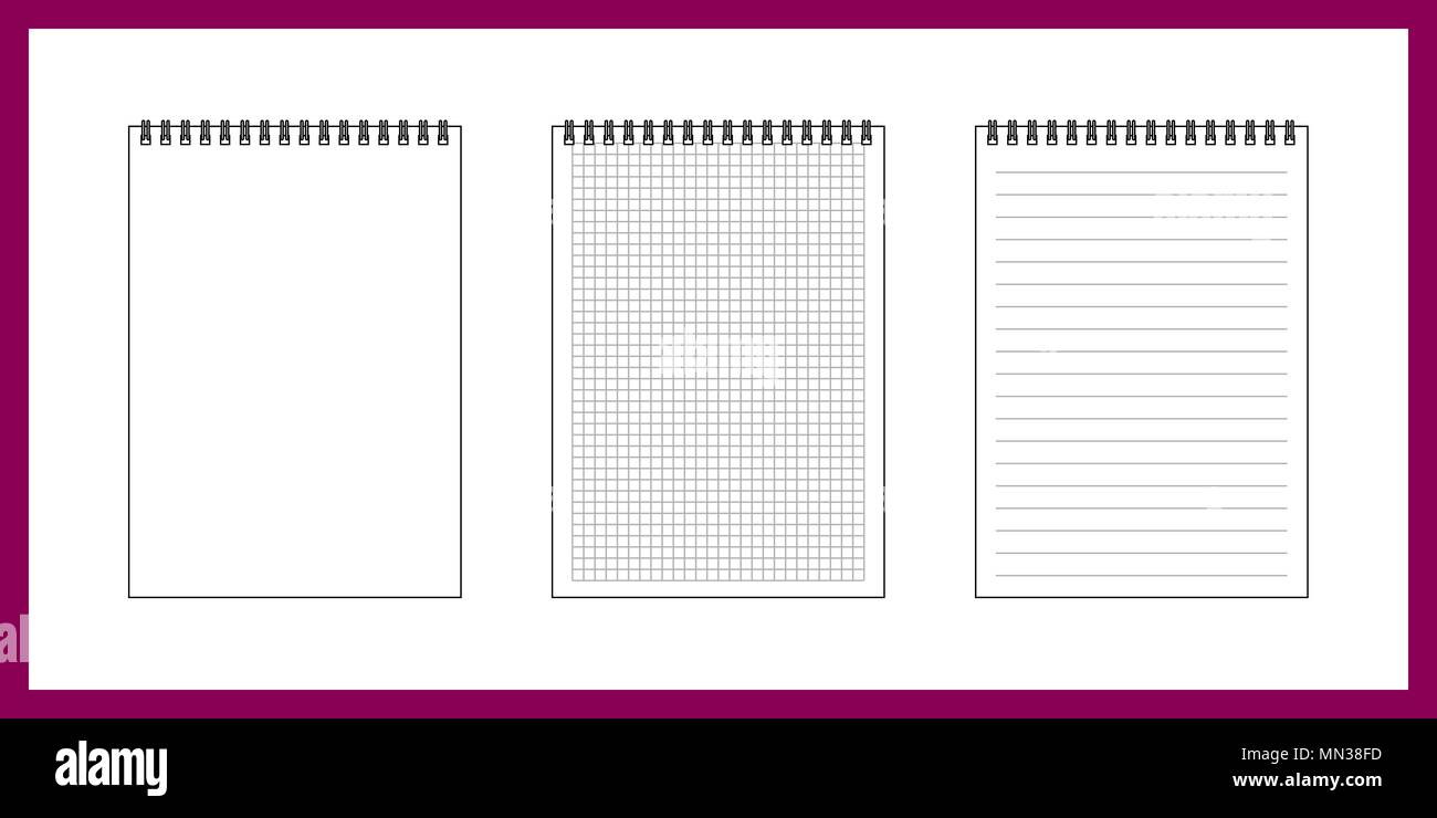 Set of notepad papers in cage, ruler and blank on white background - Stock Vector
