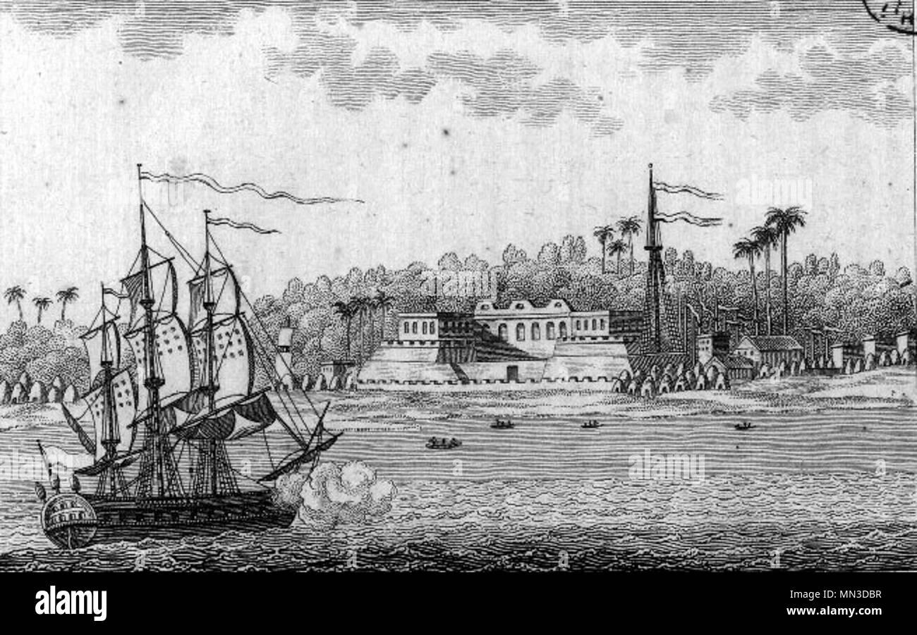 French view of the fort at Saint-Louis island, from 'L'Afrique ou histoire, moeurs, usages et coutumes des Africains', by René Claude Geoffroy de Villeneuve, 1814. - Stock Image