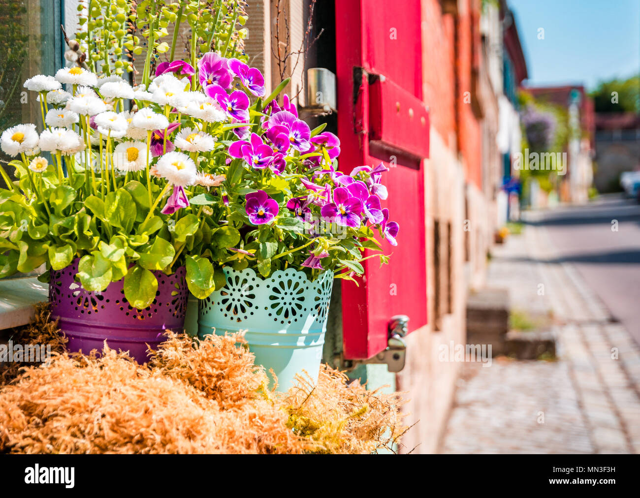 Scenic summer in the Old Town town in Rothenburg ob der Tauber, Bavaria, Germany Stock Photo