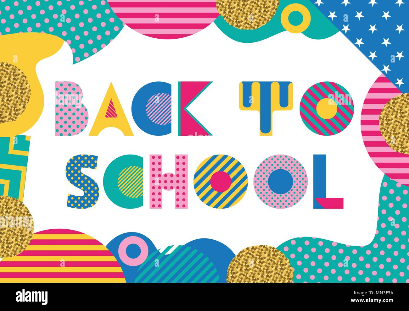 Back To School Trendy Geometric Font In Memphis Style Of 80s 90s