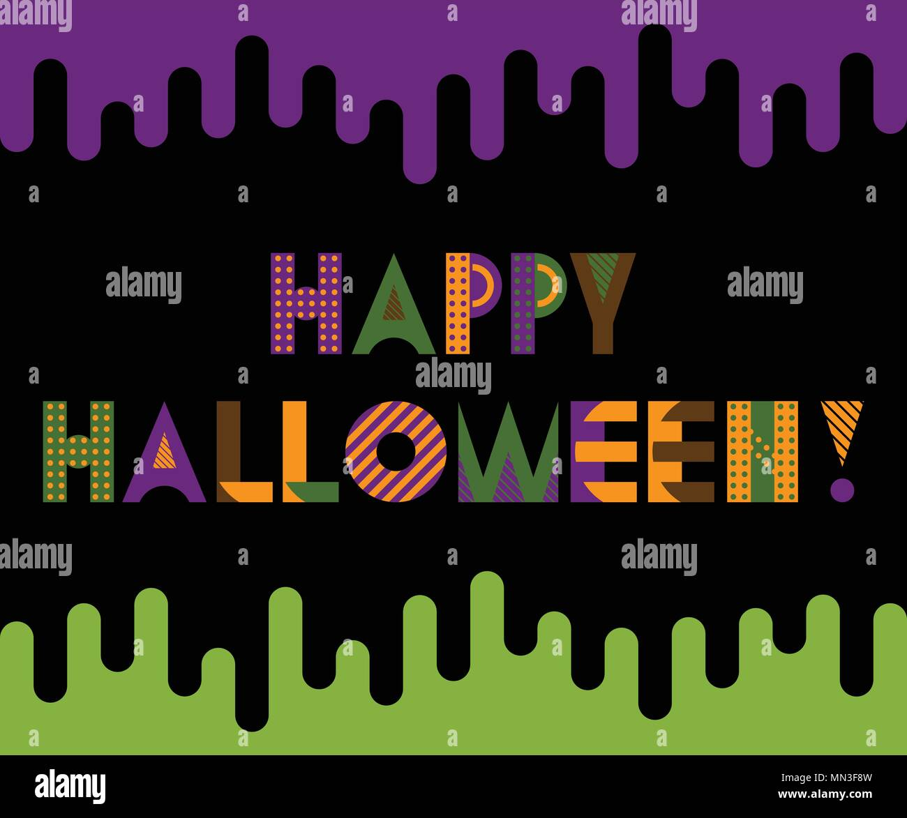 happy halloween trendy geometric font in memphis style of 80s 90s inscription on a black background