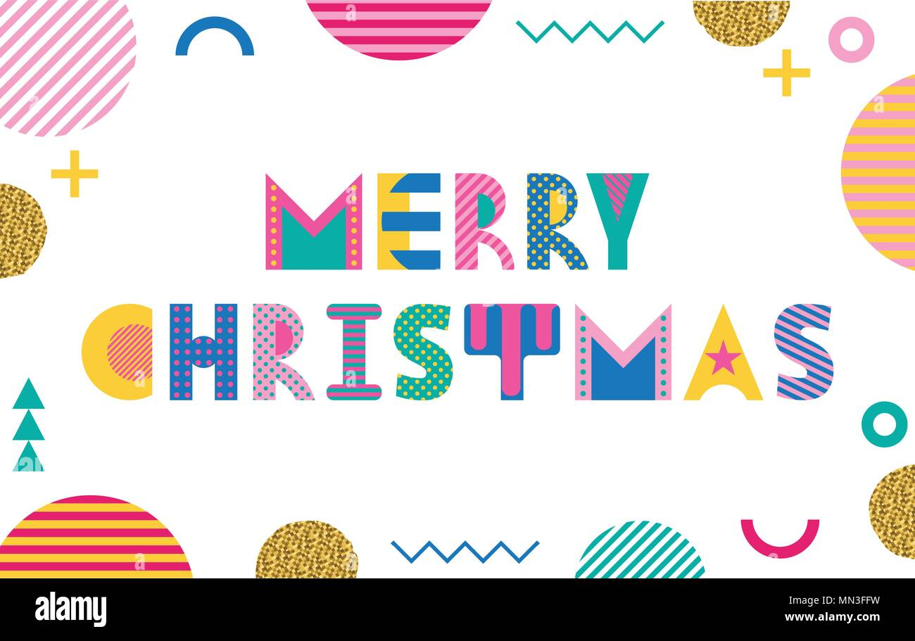 90s Christmas Background.Merry Christmas Trendy Geometric Font In Memphis Style Of 80s 90s
