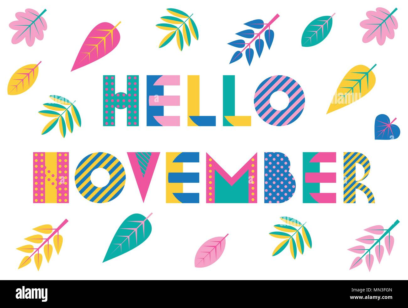 hello november trendy geometric font in memphis style of 80s 90s