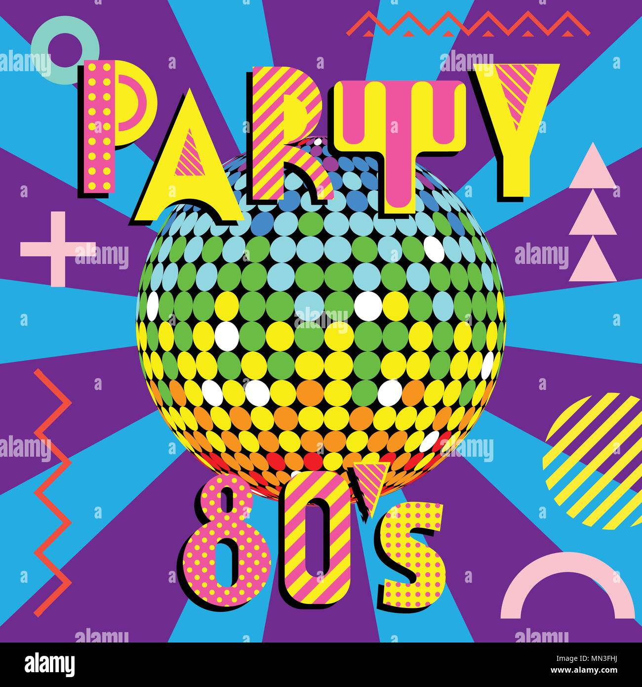 Banner for a party in the style of the eighties. Trendy geometric font in memphis style of 80s-90s. Disco Ball with colored rays - Stock Vector