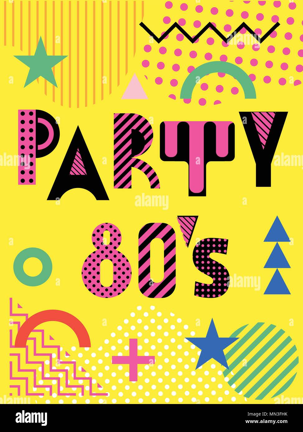 Banner for a party in the style of the eighties. Trendy geometric font in memphis style of 80s-90s. - Stock Vector