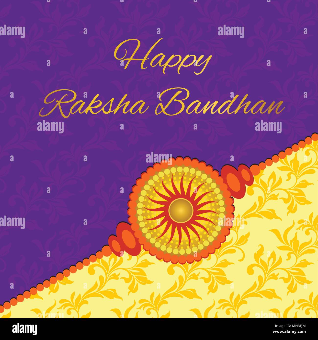Happy raksha bandhan elegant greeting card with beautiful rakhi for happy raksha bandhan elegant greeting card with beautiful rakhi for indian festival of brother and sister love celebration decorated purple and yel m4hsunfo