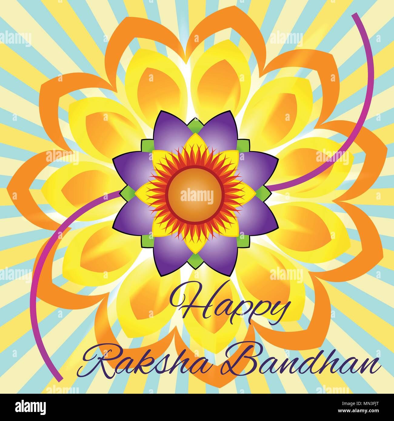 Happy Raksha Bandhan Elegant Greeting Card With Beautiful Rakhi For
