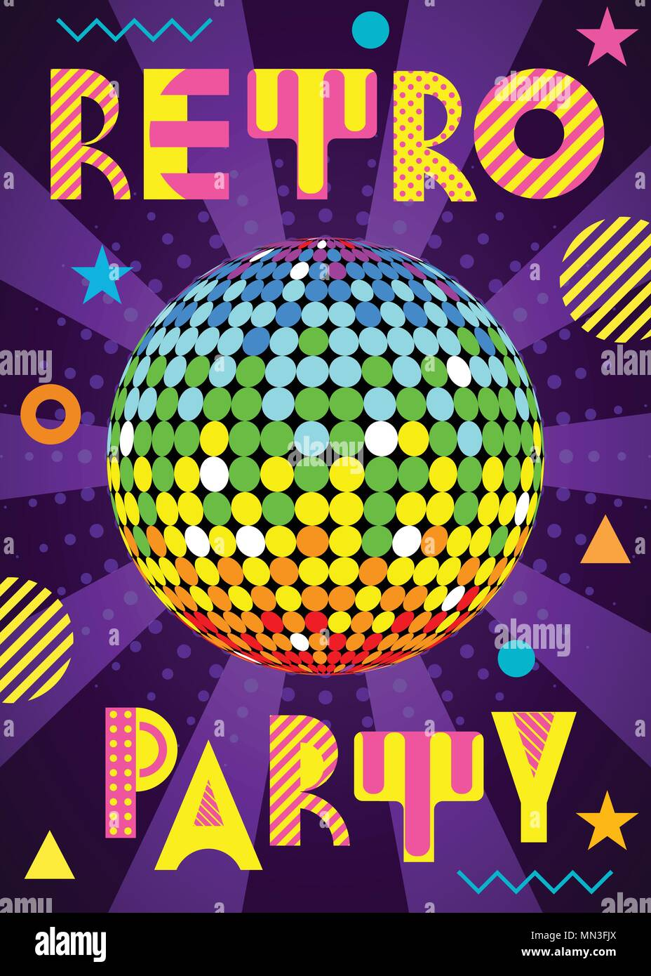 Banner for a party in the retro style  Trendy geometric font