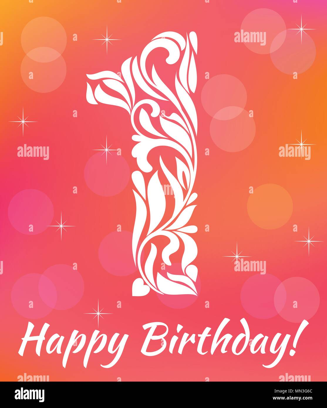 Bright Greeting Card Invitation Template Celebrating 1 Years Birthday Decorative Font With Swirls And Floral Elements