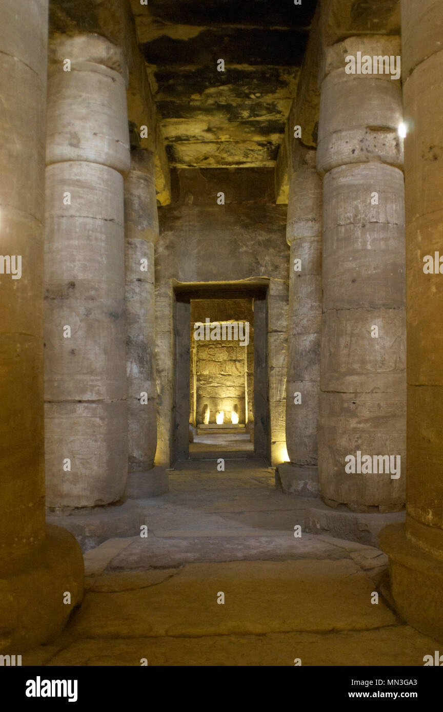 Egypt. Abydos. Temple of Seti I. New Kingdom. 19th Dynasty. The Second Hypostyle Hall. Columns. 1292-1189 BC. - Stock Image