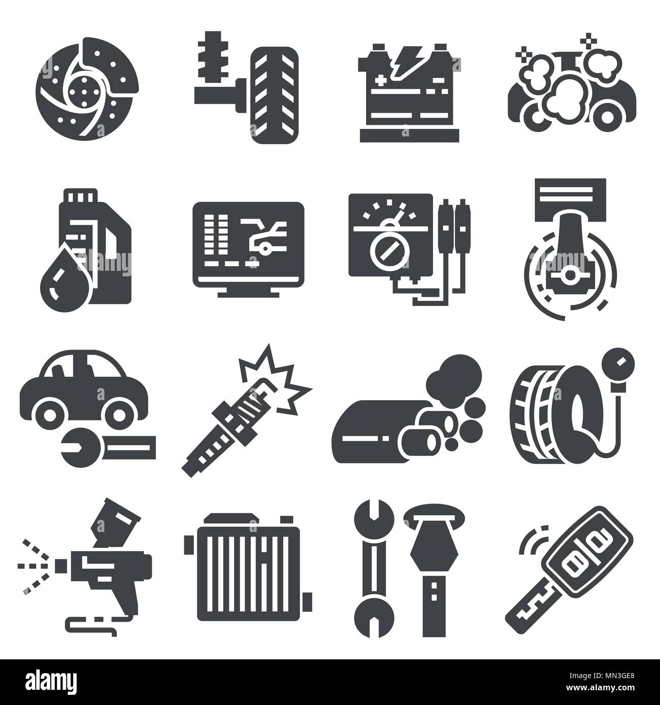 Set Vector Line Icons With Open Path Car Service Auto Repair And