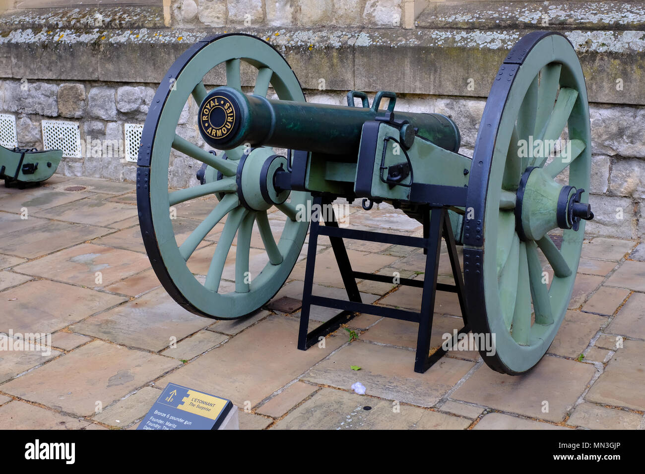 Captured Cannon from Waterloo displayed at the Tower of London UK - Stock Image