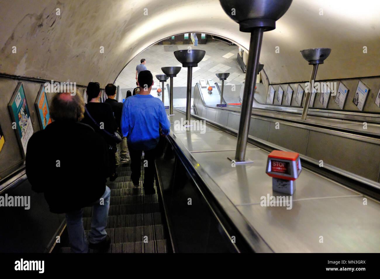 Escalators at Tooting Broadway underground station - London SW17 - Stock Image