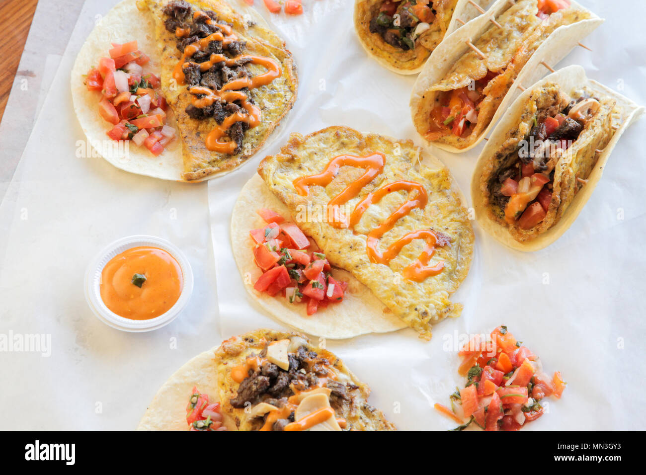 Tortilla breakfast wraps and tacos Stock Photo
