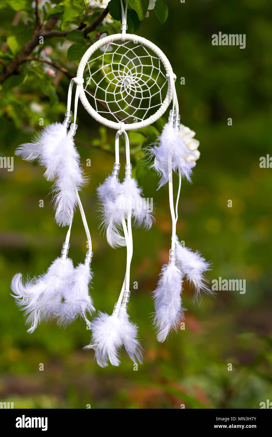 White Dreamcatcher against the background of a green garden. - Stock Image