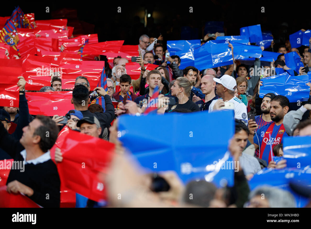 Barcelona, 6th May: People into Camp Nou Stadium during the 2017/2018 LaLiga Santander Round 36 game between FC Barcelona and Real Madrid at Camp Nou  - Stock Image