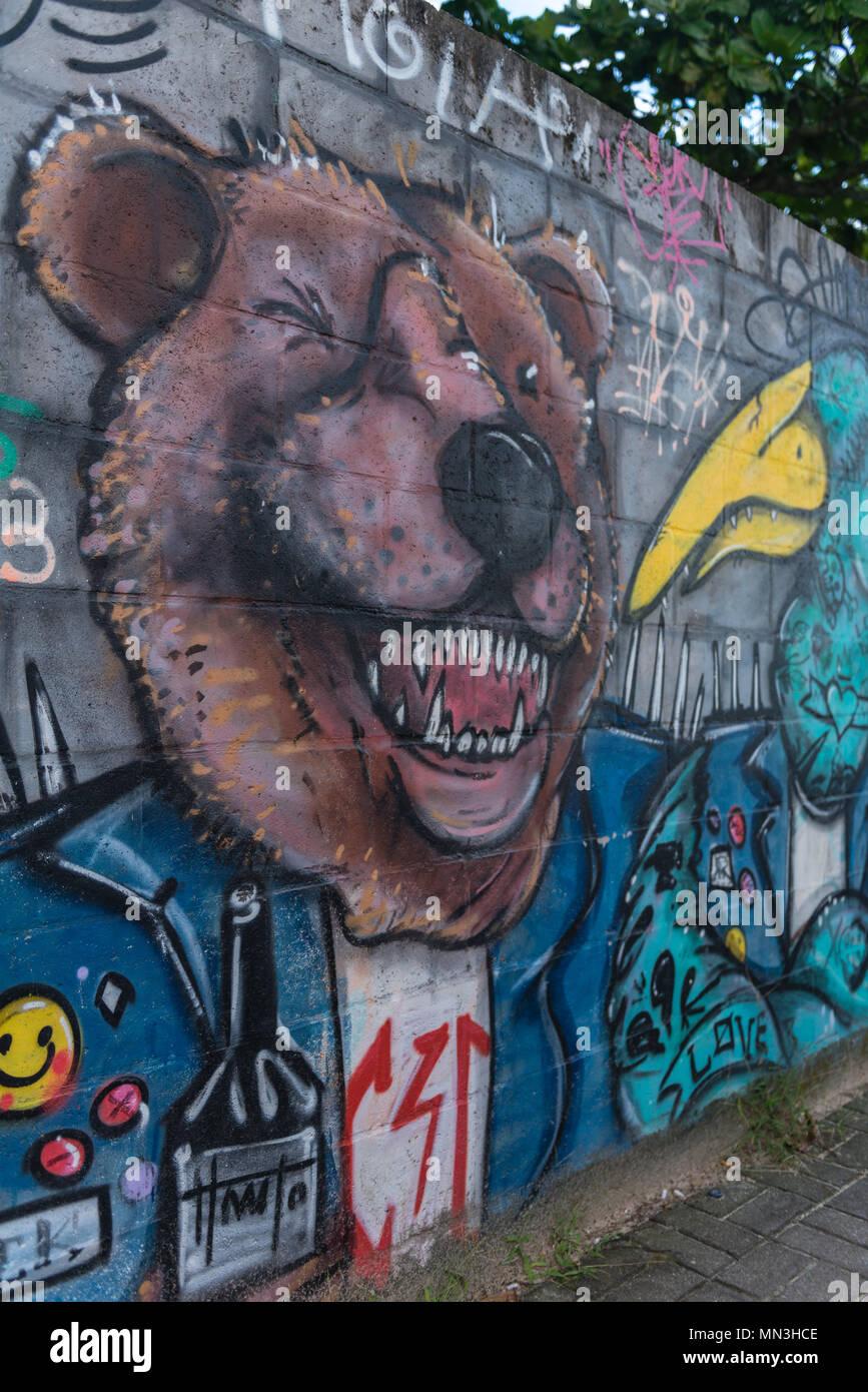 Grafitti art on a wall in Campeche, Florianópolis, Santa Catarina, Brazil, Latin America - Stock Image