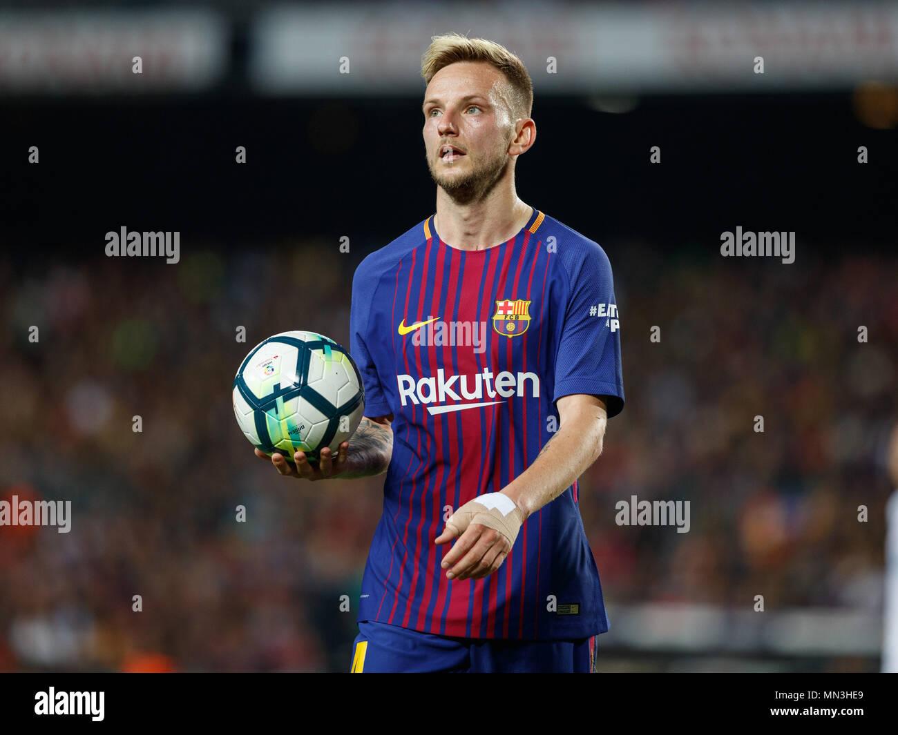 Barcelona, 6th May: Ivan Rakitic of FC Barcelona during the 2017/2018 LaLiga Santander Round 36 game between FC Barcelona and Real Madrid at Camp Nou  - Stock Image