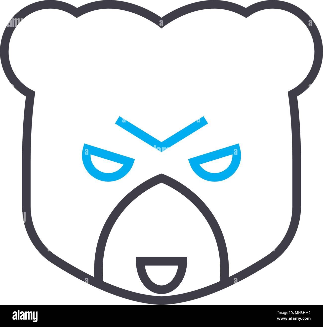 Bear market vector thin line stroke icon. Bear market outline illustration, linear sign, symbol concept. Stock Vector