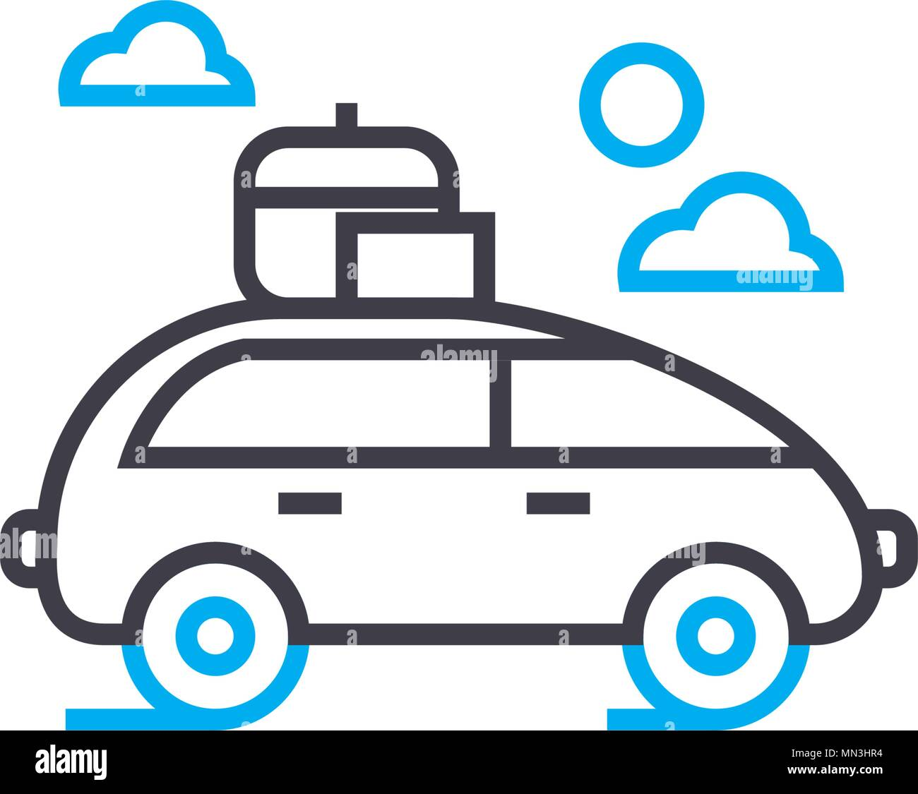 Car with roof rack vector thin line stroke icon. Car with roof rack outline illustration, linear sign, symbol concept. - Stock Vector