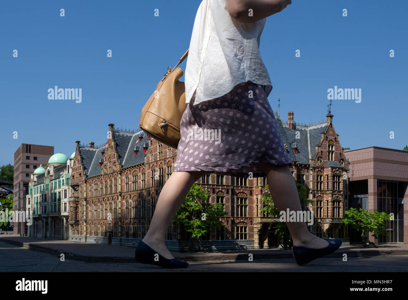 Tourists visit the Madurodam theme park, in the city of The Hague. This park has a collection of miniatures of the most important monuments of Holland Stock Photo