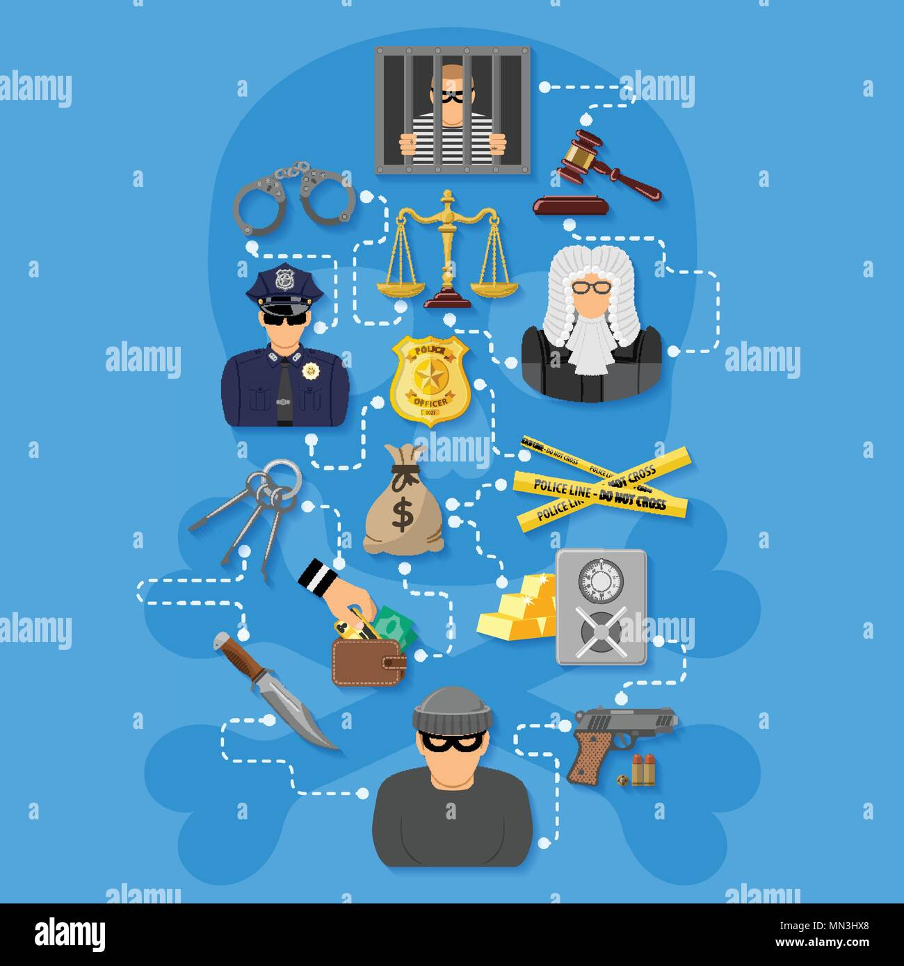 Crime and Punishment Infographics - Stock Vector