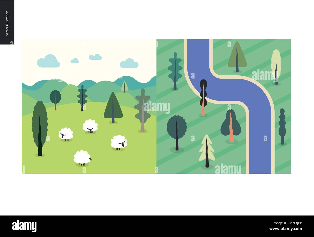 Simple Things Color Flat Cartoon Vector Illustration Of Top View Satellite Of River With Trees Field Landscape With Sheep Hills Clouds Green Stock Vector Image Art Alamy View 1,000 cartoon tree top illustration, images and graphics from +50,000 possibilities. https www alamy com simple things color flat cartoon vector illustration of top view satellite of river with trees field landscape with sheep hills clouds green image185092062 html