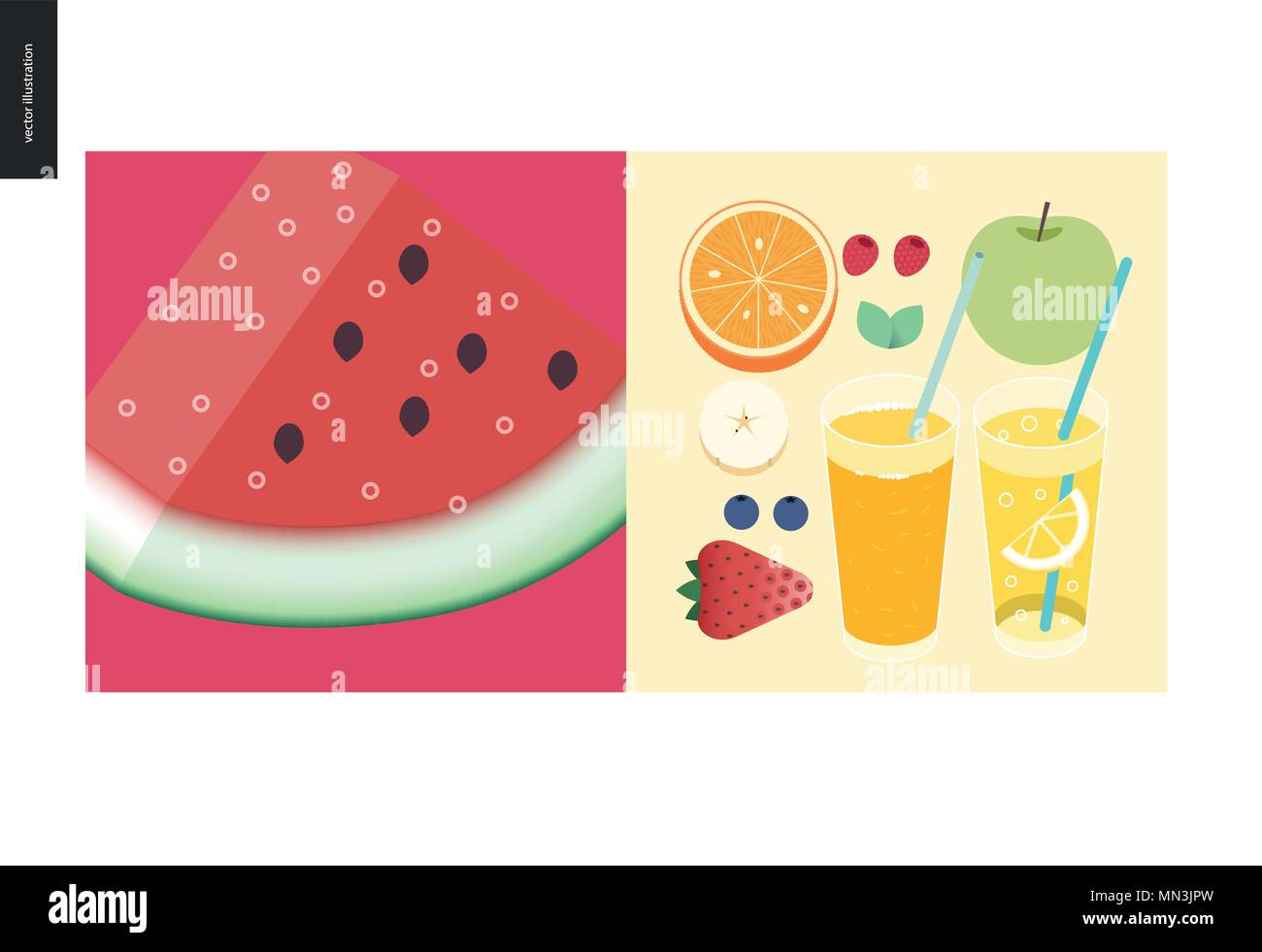 Simple things - meal - flat cartoon vector illustration of a fresh watermelon with seeds, breakfast set, fruits, orange juice, lemonade and berries, r - Stock Vector