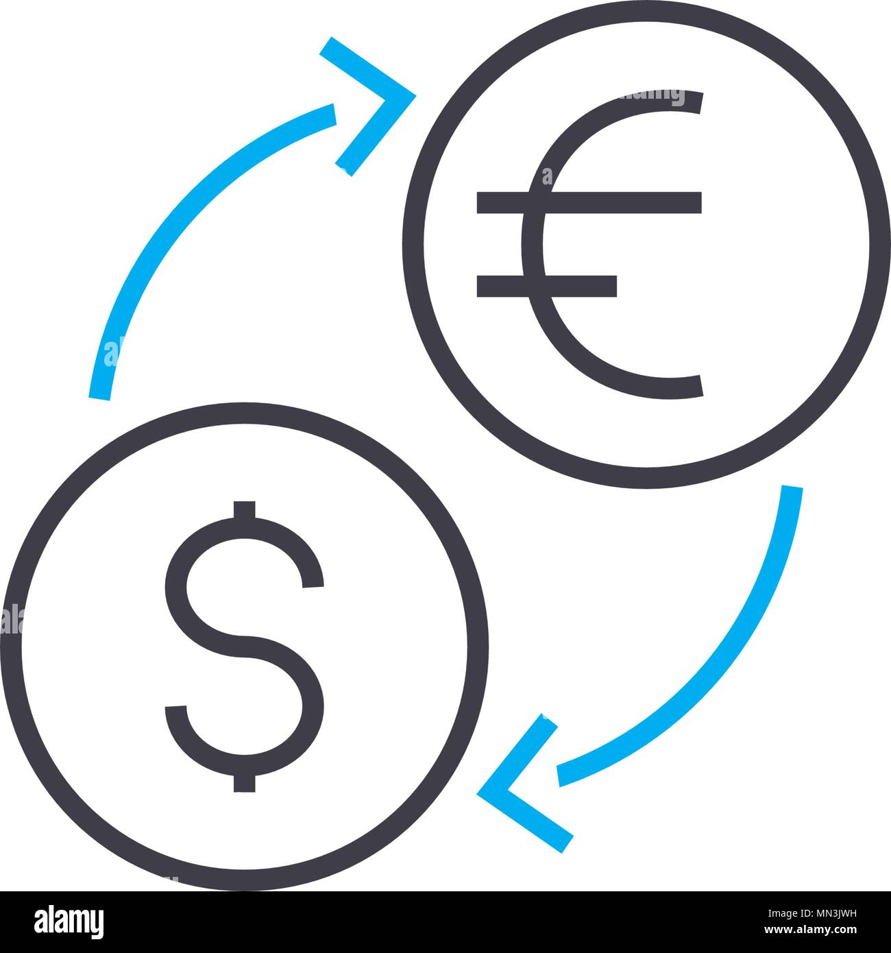 Currency Exchange Vector Thin Line Stroke Icon Currency Exchange