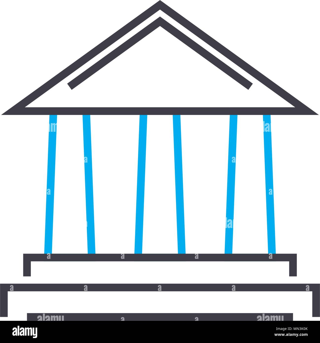 Financial institution vector thin line stroke icon. Financial institution outline illustration, linear sign, symbol concept. - Stock Vector