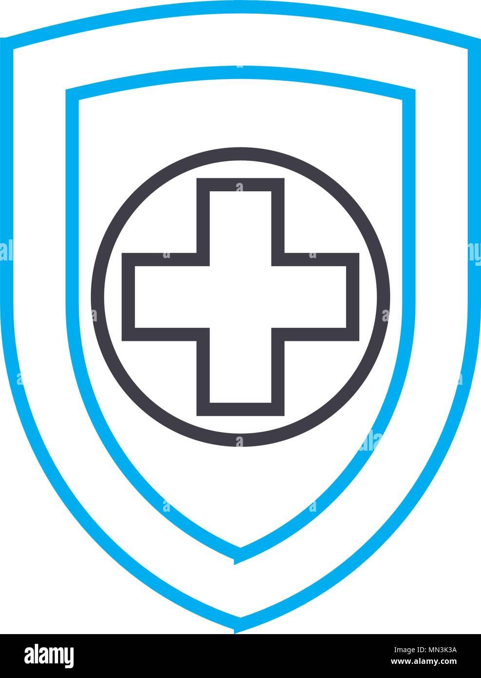 Health Insurance Vector Thin Line Stroke Icon Health Insurance