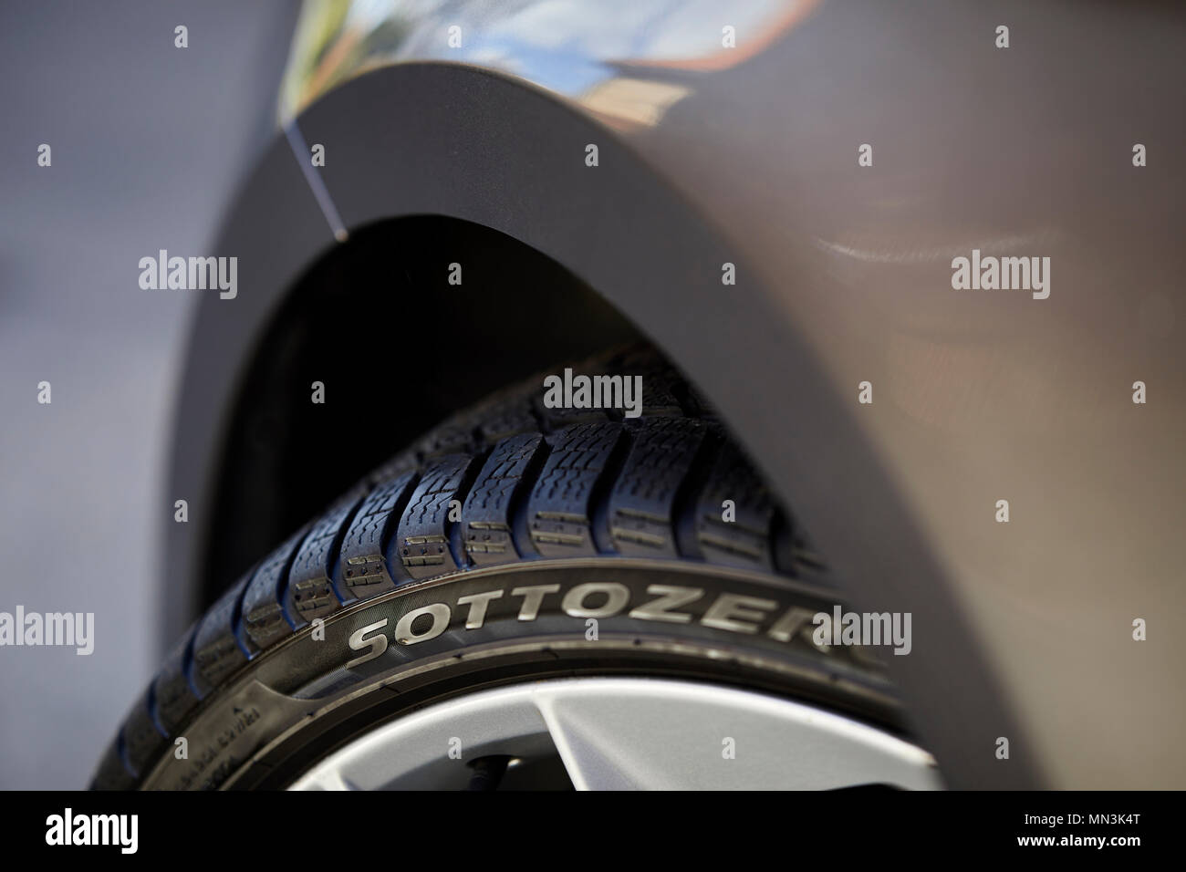 Close up of winter tyres - Stock Image
