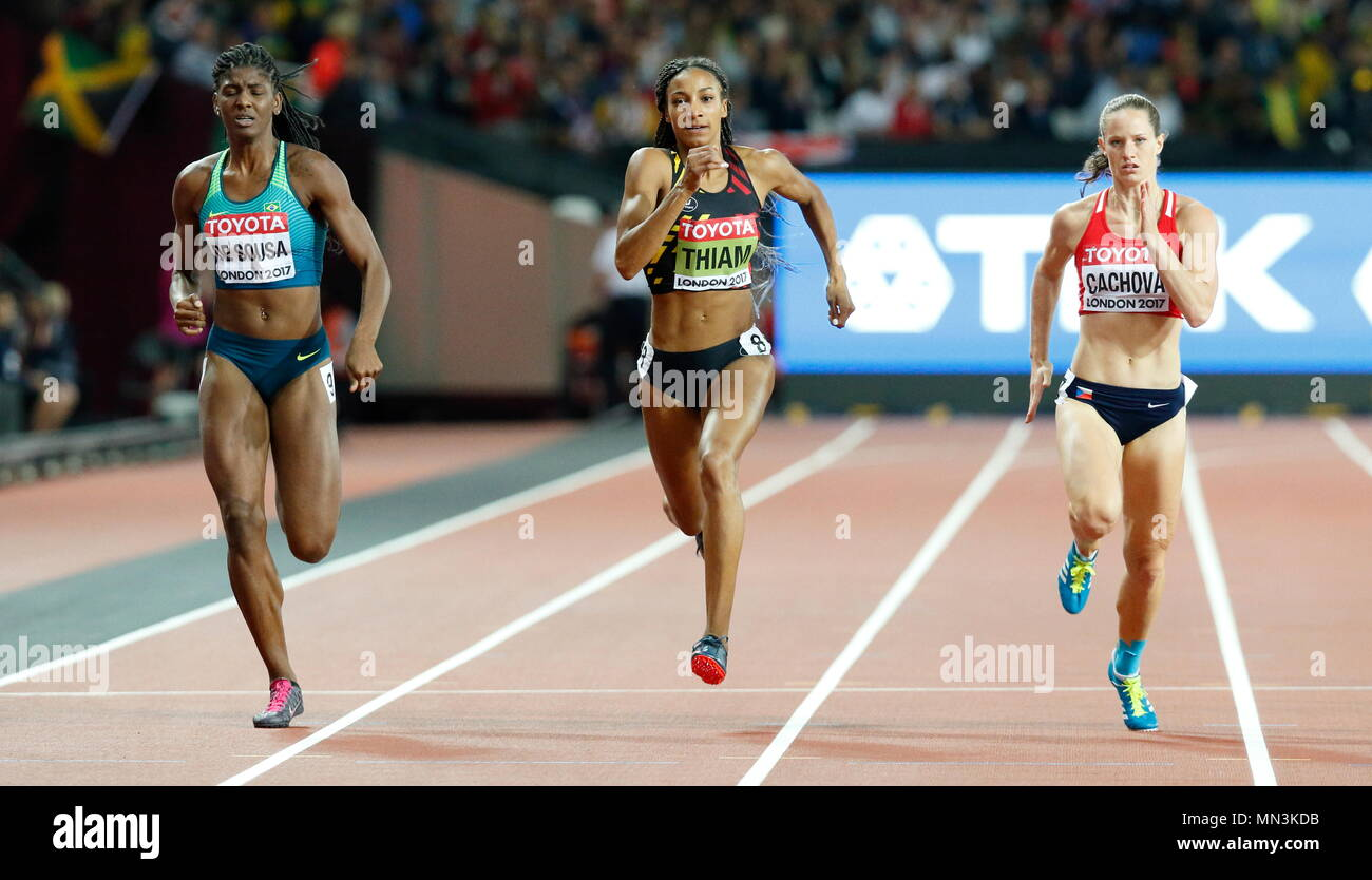 LONDON, ENGLAND - AUGUST 05: Tamara de Sousa of Brazil competes alongside Nafissatou Thiam of Belgium and Katerina Cachov‡ CZE during day two of the 16th IAAF World Athletics Championships London 2017 at The London Stadium on August 5, 2017 in London, United Kingdom. Photo by Paul Cunningham - Stock Image