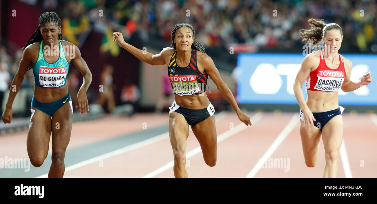 LONDON, ENGLAND - AUGUST 05: Tamara de Sousa of Brazil competes alongside Nafissatou Thiam of Belgium and Katerina Cachov CZE during day two of the 16th IAAF World Athletics Championships London 2017 at The London Stadium on August 5, 2017 in London, United Kingdom.  --- Image by © Paul Cunningham - Stock Image