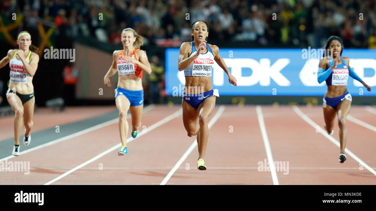 LONDON, ENGLAND - AUGUST 05: Katarina Johnson-Thompson of Great Britain competing in the Women's 200m Heptathlon during day two of the 16th IAAF World Athletics Championships London 2017 at The London Stadium on August 5, 2017 in London, United Kingdom. Photo by Paul Cunningham - Stock Image