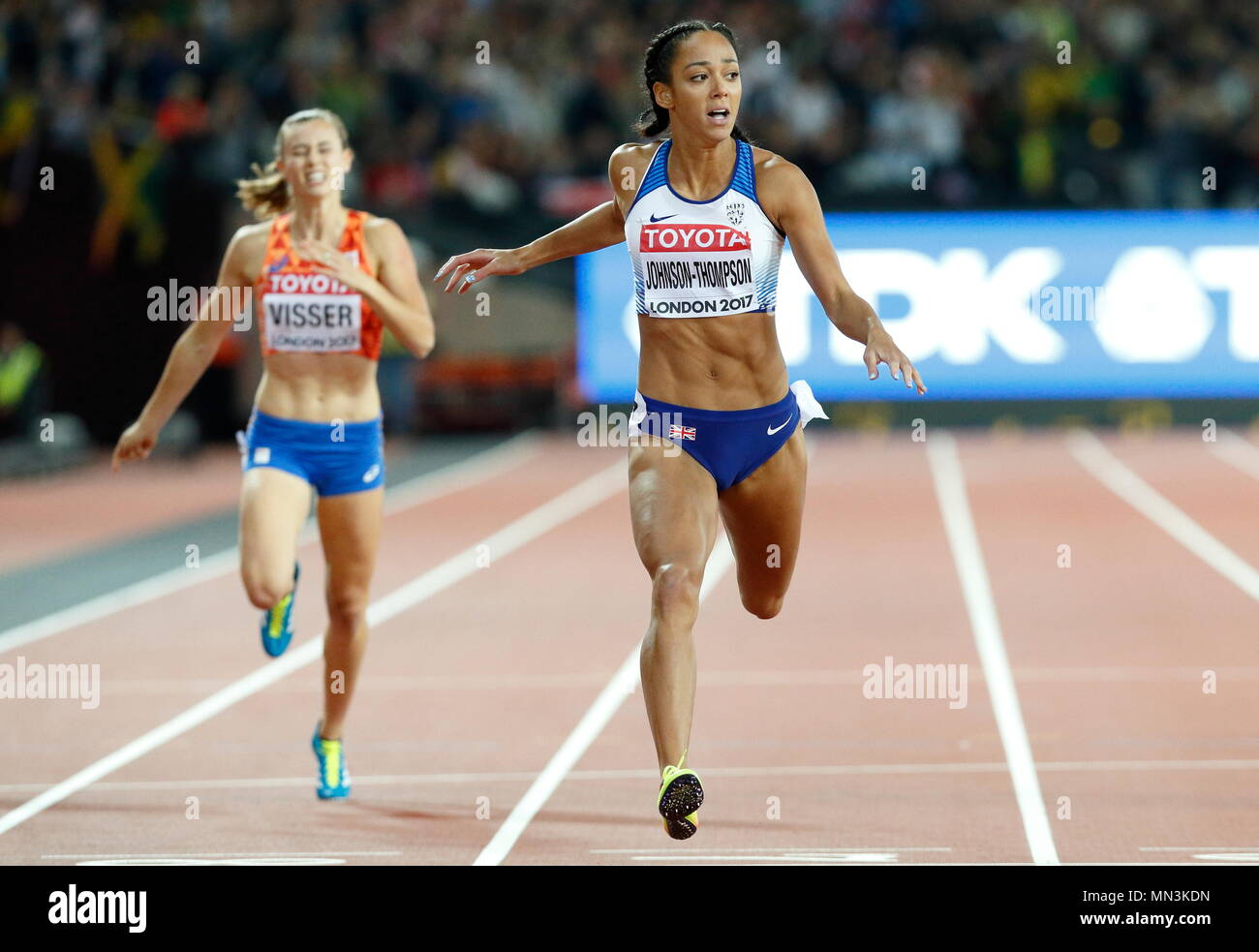 LONDON, ENGLAND - AUGUST 05: Katarina Johnson-Thompson of Great Britain competing in the Women's 200m Heptathlon crosses the finish line for first place during day two of the 16th IAAF World Athletics Championships London 2017 at The London Stadium on August 5, 2017 in London, United Kingdom. Photo by Paul Cunningham - Stock Image