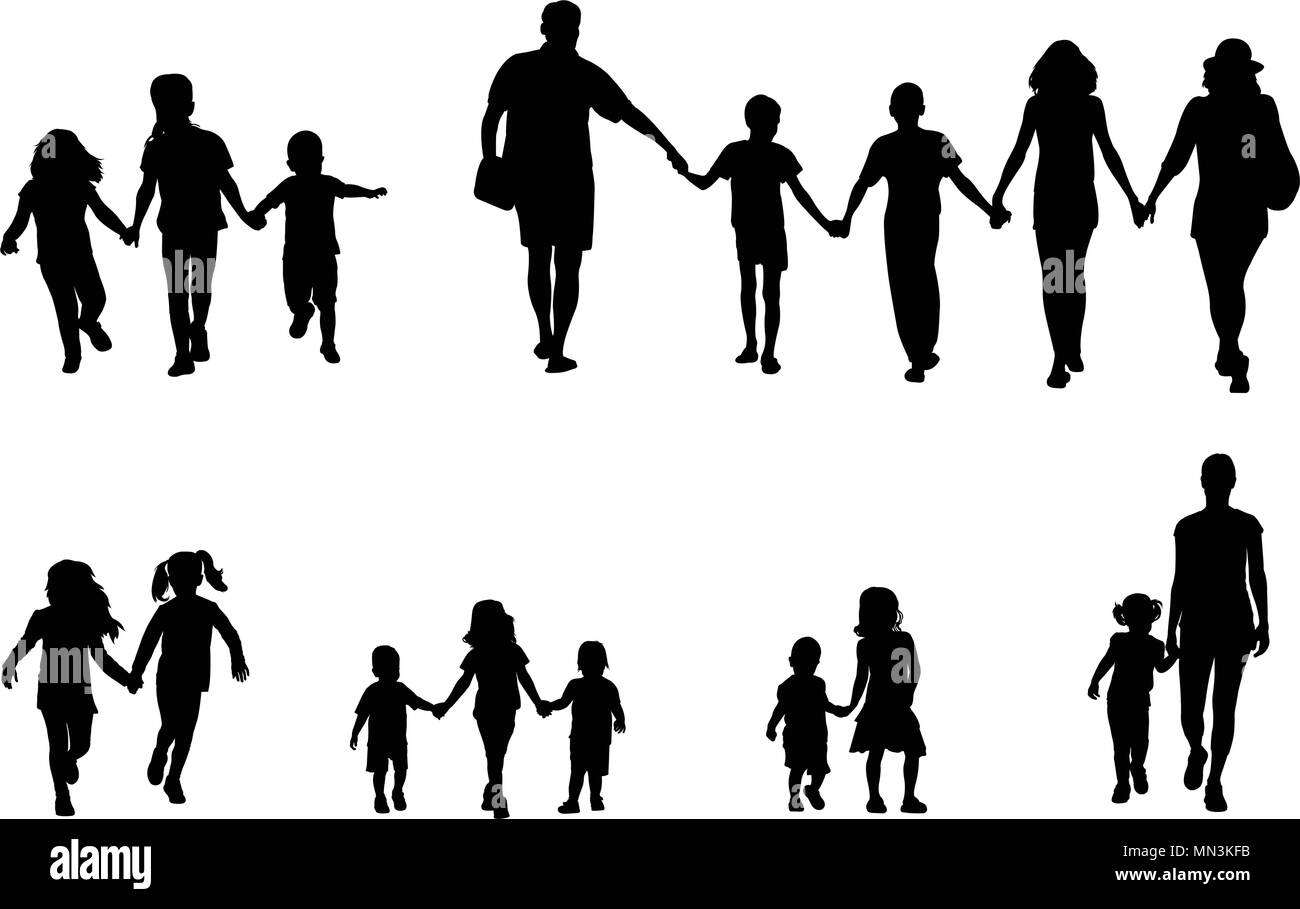 family and children holding hands silhouettes collection - vector - Stock Image
