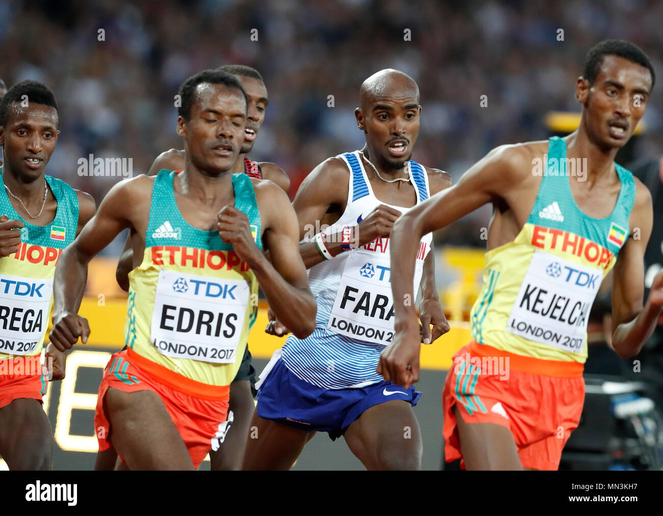LONDON, ENGLAND - AUGUST 12: Muktar Edris of Ethiopia passes Mo Farrah of Great Britain in the Men's 5000 Metres Final during day nine of the 16th IAAF World Athletics Championships London 2017 at The London Stadium on August 12, 2017 in London, United Kingdom --- Image by © Paul Cunningham - Stock Image