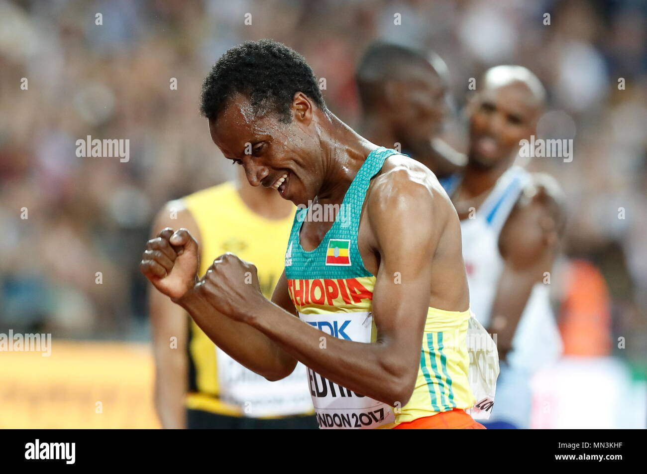 LONDON, ENGLAND - AUGUST 12: Muktar Edris of Ethiopia celebrates after the winning the Men's 5000 Metres Final, with Mo Farrah during day nine of the 16th IAAF World Athletics Championships London 2017 at The London Stadium on August 12, 2017 in London, United Kingdom --- Image by © Paul Cunningham - Stock Image