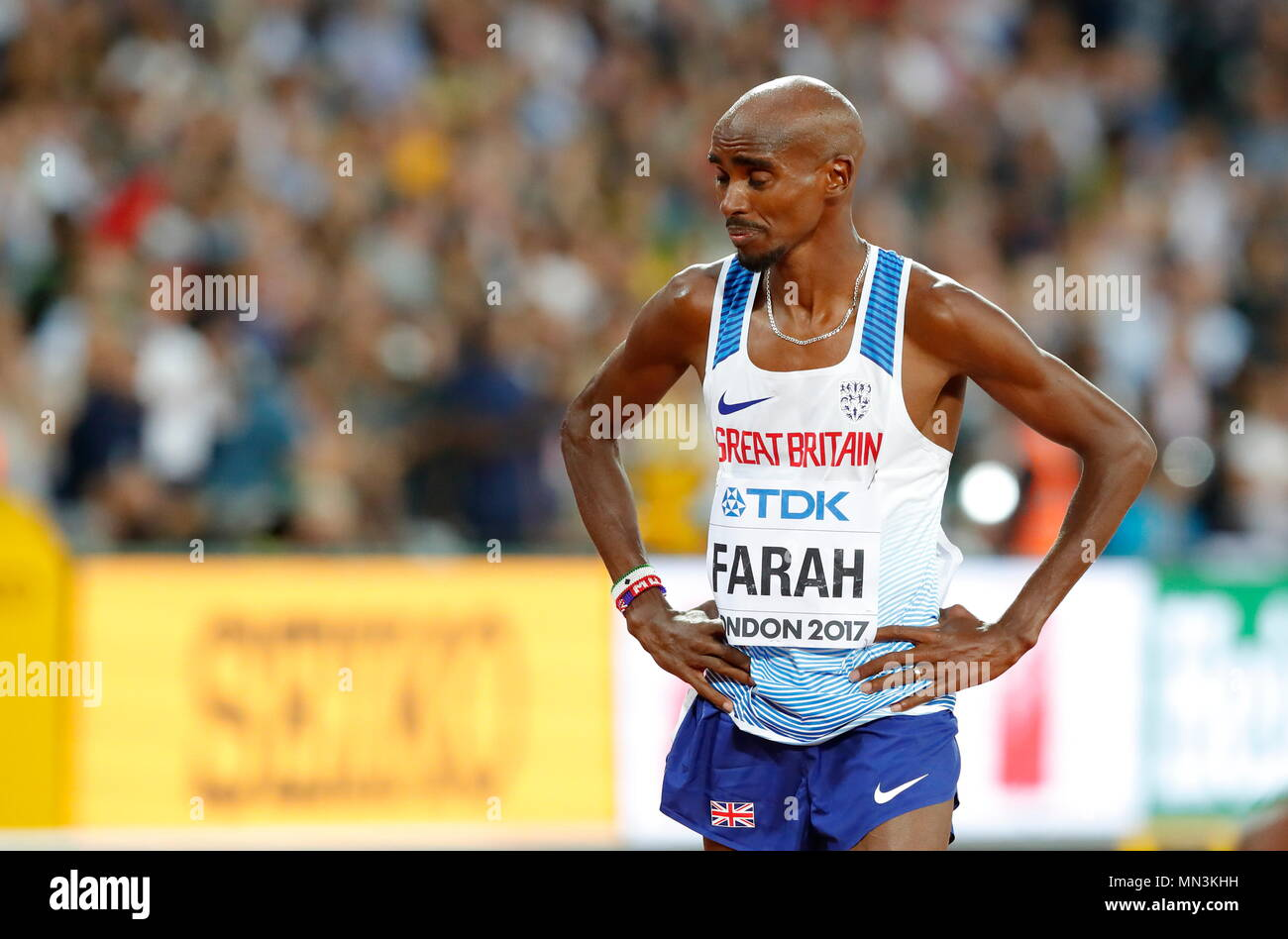 LONDON, ENGLAND - AUGUST 12: Mo Farah of Great Britain reacts after finishing second in the Men's 5000 Metres Final during day nine of the 16th IAAF World Athletics Championships at the London Stadium on August 12, 2017 in London, United Kingdom --- Image by © Paul Cunningham - Stock Image