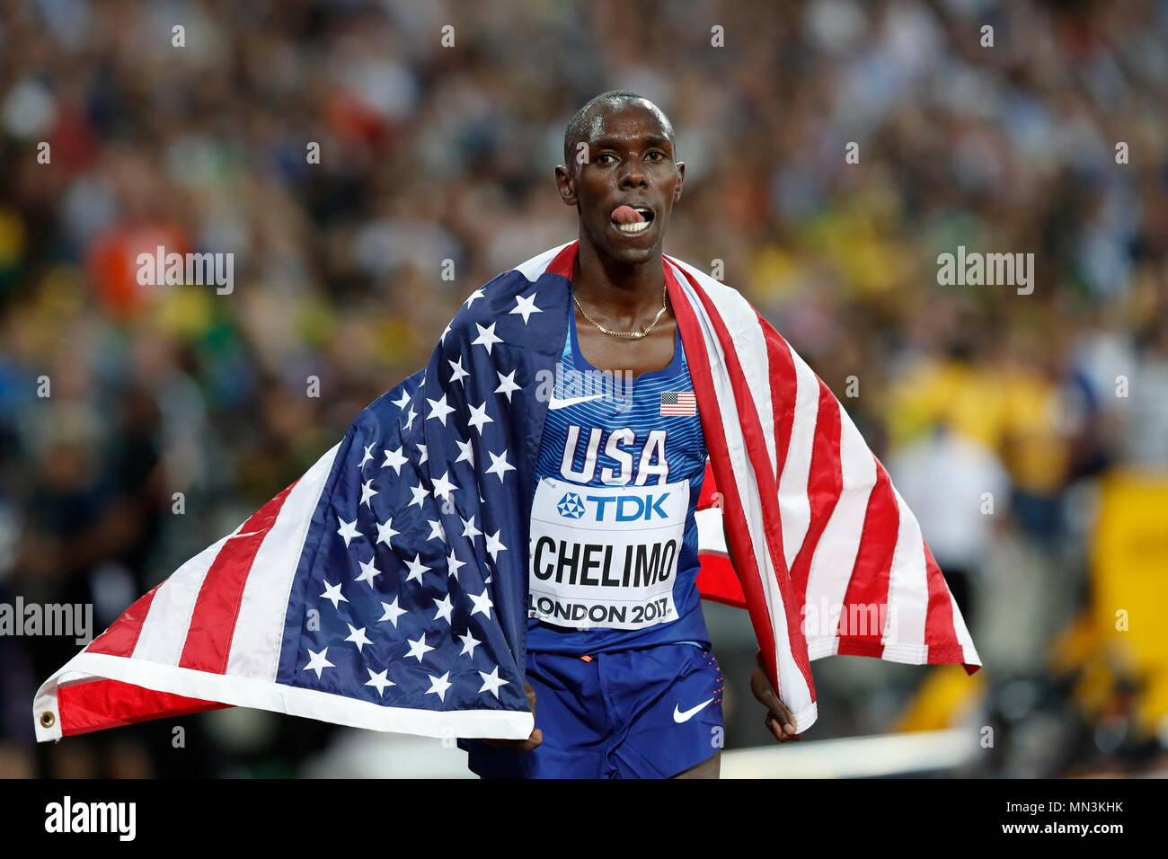 LONDON, ENGLAND - AUGUST 12: Paul Kipkemoi Chelimo of the United States celebrates after the Men's 5000 Metres Final during day nine of the 16th IAAF World Athletics Championships London 2017 at The London Stadium on August 12, 2017 in London, United Kingdom --- Image by © Paul Cunningham - Stock Image