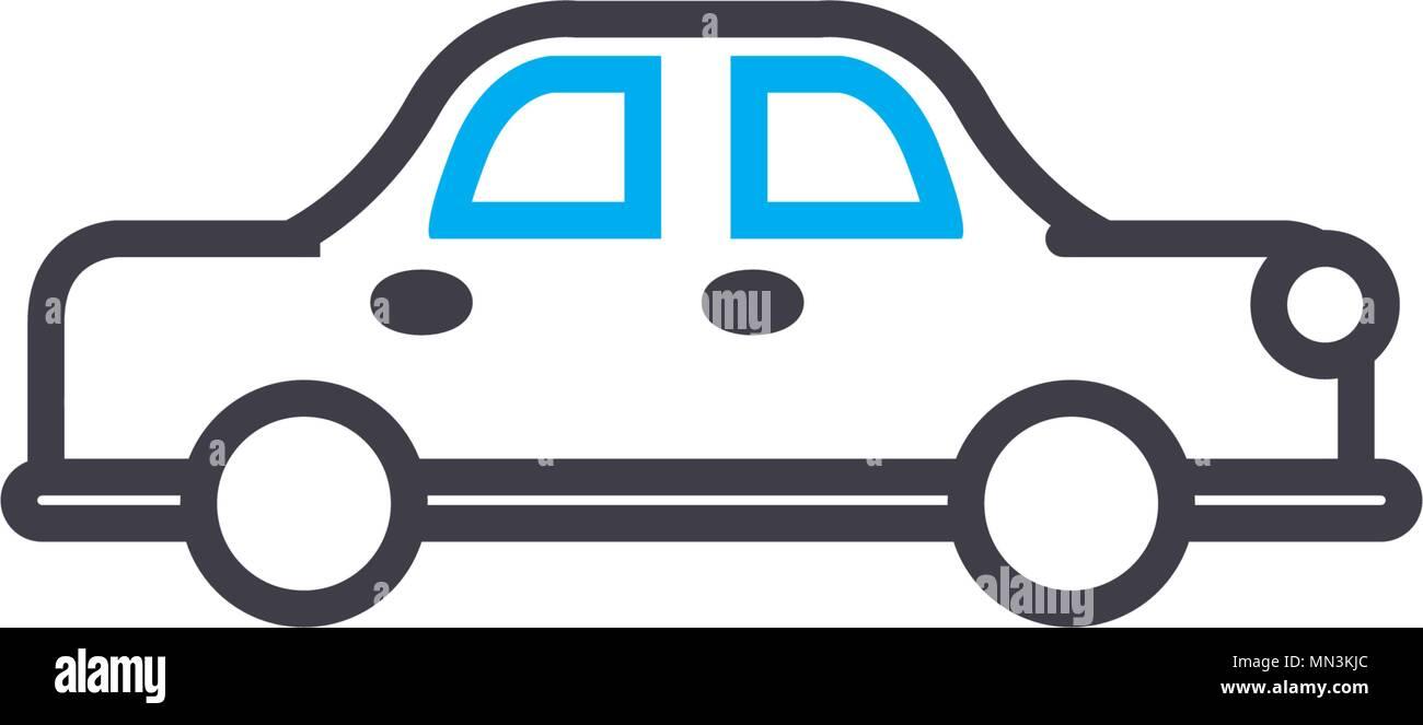 Sedan car vector thin line stroke icon. Sedan car outline illustration, linear sign, symbol concept. - Stock Vector