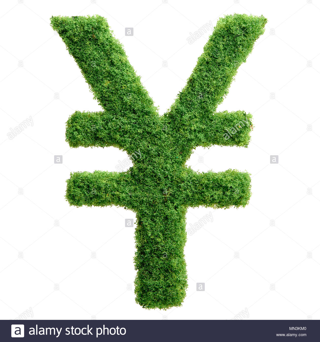 Grass growing in the shape of yen symbol. Clean eco friendly economy. - Stock Image
