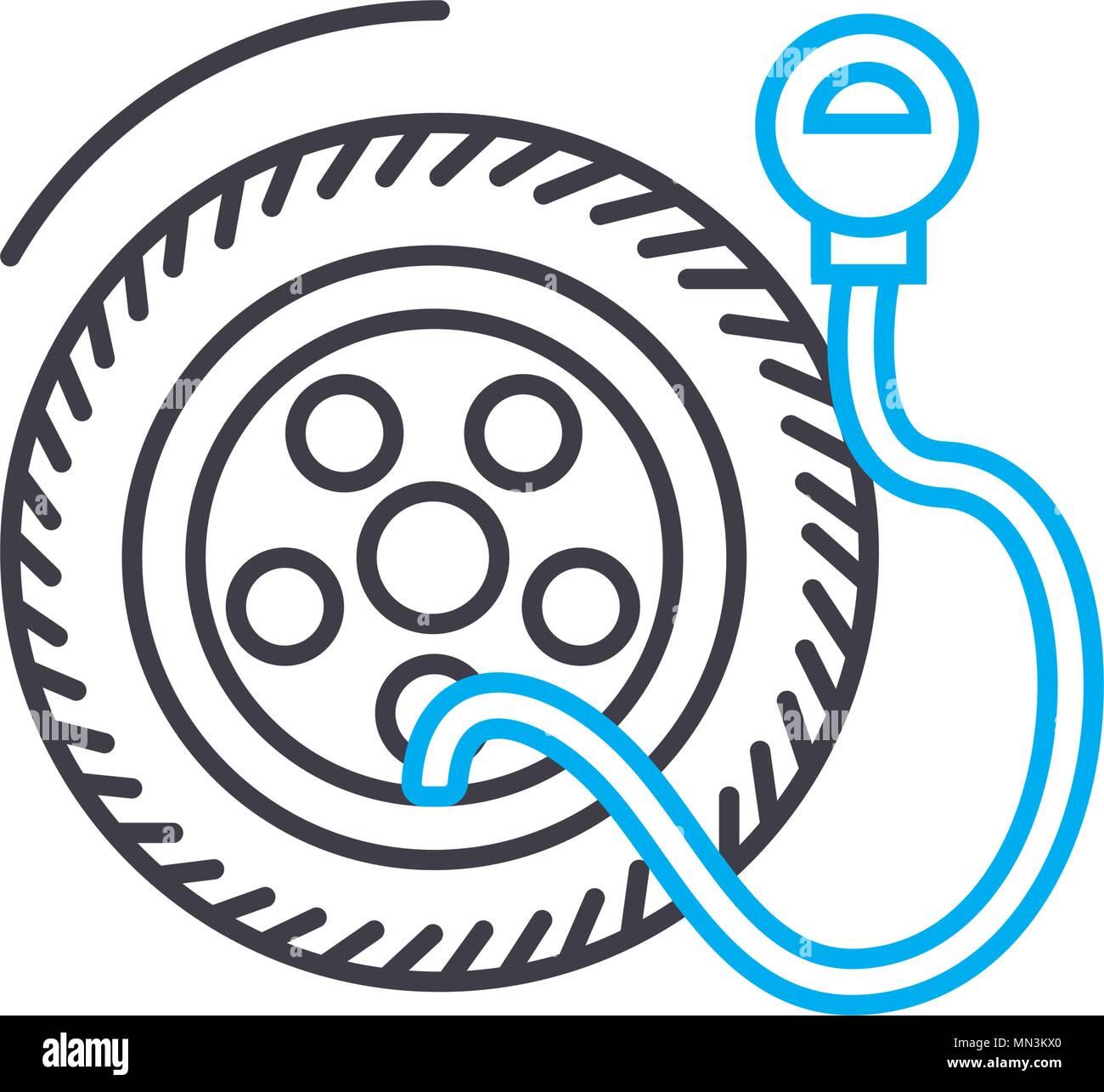 Tire pressure vector thin line stroke icon. Tire pressure outline illustration, linear sign, symbol concept. - Stock Vector