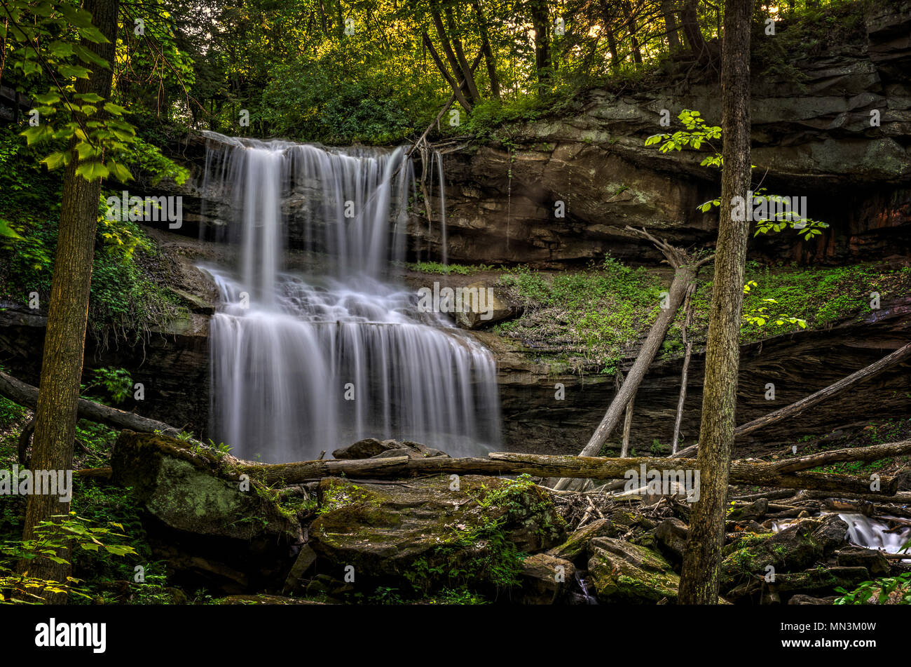 Quakertown Falls is a fifty foot waterfall on Falling Spring Creek located just northwest of the town of Hillsville in Mahoning Township Pennsylvania. - Stock Image
