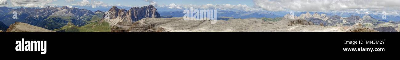 Wide panorama view of Sass Pordoi in the Sella Mountain Group, taken from the Piz Boe Peak Stock Photo